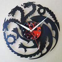 Game of thrones , Handmade vinyl record laser cut modern wall clock fun gift