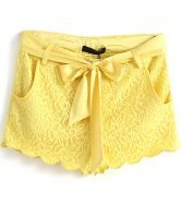 Yellow Sacallop Hem Bow Tie Lace Shorts $31.97