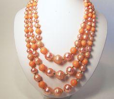 Triple Strand Japan Bead Necklace Peach Faux by GretelsTreasures