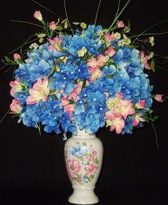 Silk flower arrangement blue hydrangea white roses white vase silk flower arrangement blue hydrangea white roses white vase spring flower arrangement silk floral arrangement artificial flowers pinterest mightylinksfo
