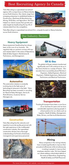 Talon Recruiting is a specialized recruitment agency in canada which provides jobs to clients in various locations. Our clients range from emerging enterprises to established leaders in Construction, Machinery & Manufacturing, Mining, Oil & Gas, and Agriculture. We have helped our clients surpass their growth and sales targets by headhunting the top 5% of industry talent from the competition. For more information, visit website- www.talonrecruiting.com.