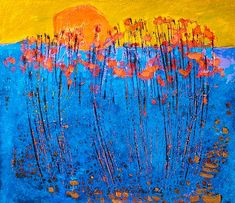 Seashore flowers in bloom by Reidar Särestöniemi Abstract Landscape, Landscape Paintings, Abstract Art, Abstract Expressionism, Collage Art Mixed Media, Encaustic Painting, It Goes On, Blooming Flowers, Environmental Art