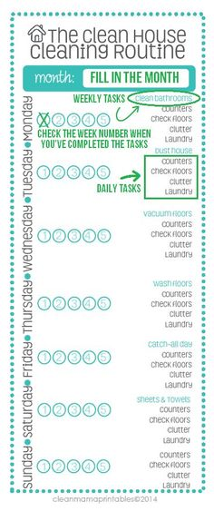 Finally, a cleaning method that is doable and actually works! Print out this FREE schedule and try it out today. Via Clean Mama