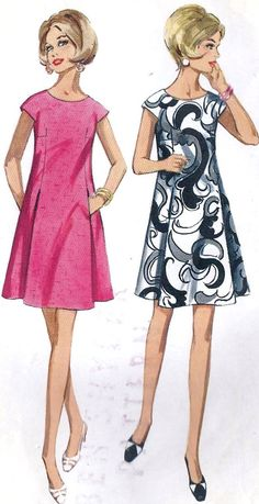 1960s  A Line Dress vintage fashion illustration  #sixties