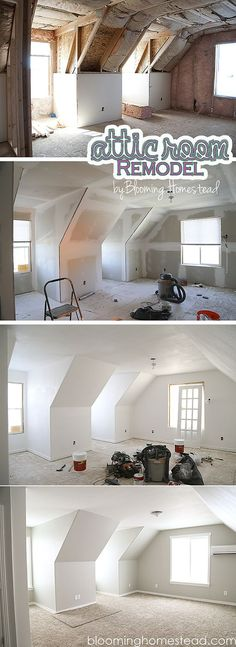 Attic Room Remodel before and afters by Blooming Homestead. Attic Room Remodel before and afters by Blooming Homestead. Attic Renovation, Attic Remodel, Loft Grenier, Attic Loft, Attic Office, Attic Playroom, Attic Library, Garage Attic, Attic Bedrooms