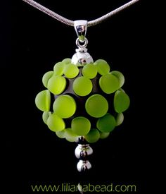 Luminous Glass  Green and Silver Berry by lilianabead on Etsy, $100.00