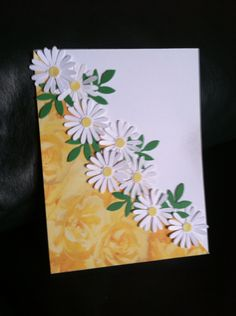 I would use daisy paper instead of rose scrapbook cards Handmade Birthday Cards, Greeting Cards Handmade, Diy Birthday, Pretty Cards, Cute Cards, Tarjetas Diy, Stamping Up Cards, Paper Cards, Flower Cards