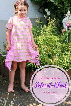 Das Sidecut Kleid von MiToSa-Kreativ kann in 3 Varianten genäht werden, als Zipfeltunika, Ballontunika oder gerade. Es kann mit langen oder kurzen Ärmeln genäht werden und im Materialmix. Es ist ausgelegt für Kinder Gr. 74 - 164