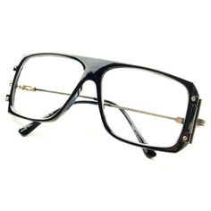 Vintage Retro Style Clear Lens Glasses Eyeglasses Frames in Black Gold by Vintage. $9.95. Frame Height: 50mm. Clear Lens Flat Top Glasses. 100% 400UV Protection. Frame Width:  145mm. Trendy Look. New, super hot, retro inspired clear lens glasses in black / gold frame. Stylish and hip look. Great quality.. Save 67%!