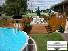 Above Ground Pool Privacy Screen cedar above-ground pool deck with privacy screens and staircase