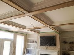 Hallway Waffle Ceiling With Pot Lights Coffered And Waffle - Cornice crown moulding toronto wainscoting coffered ceiling