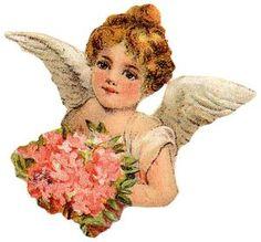 Victorian Cherub With Bouquet Clip Art angel, angels, clip art, cherub, roses, flowers, bouquet, christmas decor