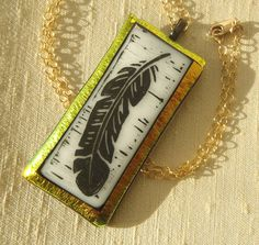 Pendant Necklace  Long Feather Painted Fused by ShadowDanceGlass, $149.00
