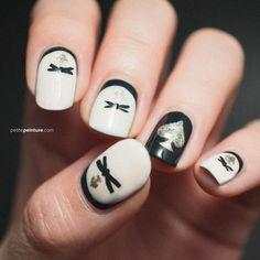 Kate Spade Black And White Nail Art.