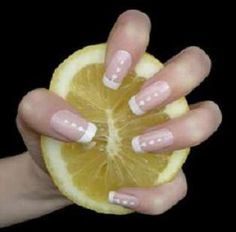 get rid of the yellow on nails or teeth. juice of 1/2 lemon + 1 cp warm water = soak nails for 5 minutes. add olive oil too for shine. Teeth lemon+ baking soda = whitening tooth paste