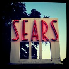 A Sears vintage neon sign in Houston, Texas