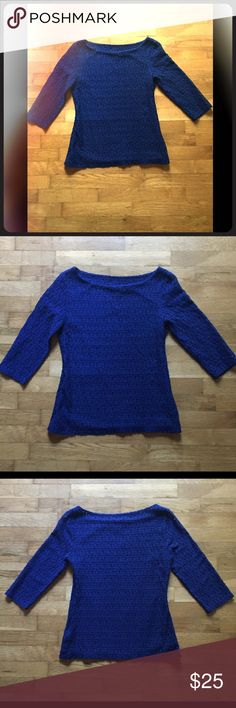 Banana Republic Beautiful Blue top Beautiful blue lace design top with lining, sleeves are 3/4 length, worn only a few times, one of those items that got lost in my closet, it's ready for a new home Banana Republic Tops Blouses