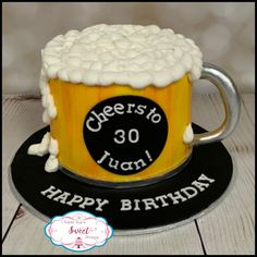 Custom Cakes, Wedding cakes and cream cheese mints Beer Birthday Cake For Men, Beer Birthday Party, Birthday Cake For Husband, 40th Birthday Cakes, Beer Mug Cake, Liquor Cake, Cake Design For Men, Cake For Boyfriend, Fathers Day Cake