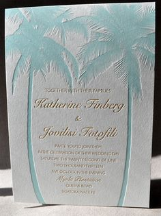 Tropical destination wedding letterpress invitation.  Seafoam blue palm trees.  Florida, Carribean, Mexican, Pacific destination weddings. Beach wedding theme.  Delicate, intricate, classic letterpress wedding invitation.