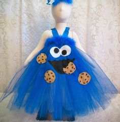 Fits 0 12 mo. Cookie Monster Long Tutu Dress Baby by cd1ofakind