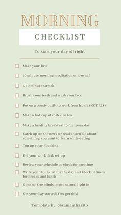 Morning Routine Checklist, Morning Routines, Morning Routine Chart, Daily Routine Schedule, Early Morning Workouts, Daily Routines, Morning Routine Printable, Working Mom Schedule, To Do Checklist