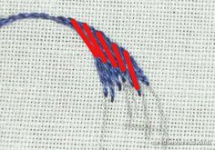 Long and Short Stitch Lesson Shaded Curves Embroidery Leaf, Learn Embroidery, Embroidery Needles, Hand Embroidery Designs, Thread Art, Thread Painting, Needlepoint Stitches, Needlework, Long And Short Stitch