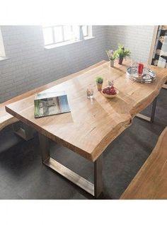 tavolo da cucina legno di castagno e gambe in ferro colore naturale