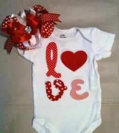 Valentine's Day outfit for baby girls - Love onesie with matching headband w/ boutique bow by rbsDesigns on Etsy https://www.etsy.com/listing/174205667/valentines-day-outfit-for-baby-girls