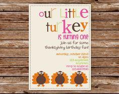 Custom Printable Little Turkey Thanksgiving Birthday Party Invitation with photo. $10.00, via Etsy.