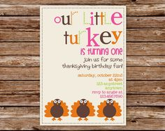 Custom Printable Little Turkey Thanksgiving Birthday Party Invitation with photo. $10.00, via Etsy.