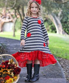 This Black & Red Stripe Lace Hi-Low Dress - Toddler & Girls by Mia Belle Baby is perfect! #zulilyfinds
