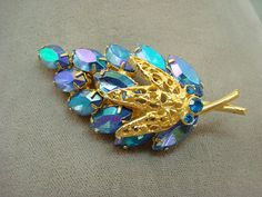 Purple Turquoise Aurora Borealis Rhinestone Brooch  by AntiqueAli, $29.99