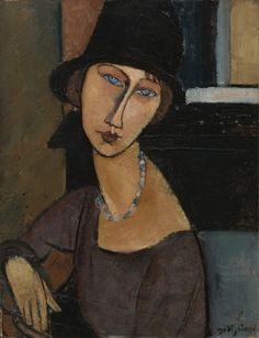 Amedeo Modigliani, (1884-1920), 1917, Jeanne Hébuterne au chapeau, Oil on panel, H: 67 W: 51.5 cm. on ArtStack #amedeo-modigliani #art