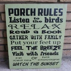 .Porch sign