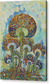 Mushroom And Incy Weency Unicorn Acrylic Print by Manami Yagashiro
