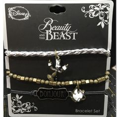 Beauty and the Beast bracelet trio Hot Topic Beauty and the Beast bracelet trio. Corded or beaded brace trio featuring Lumierre, Mrs Potts and Bonjour! Jewelry Bracelets