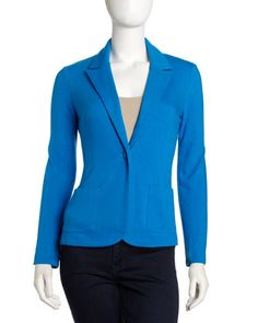 Ponte Knit Blazer, Mermaid Blue by Neiman Marcus at Last Call by Neiman Marcus. size S