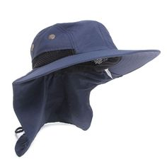 Boonie Boating Fishing Camping Snap Hat Brim Ear Neck Cover Sun Flap Cap Blue