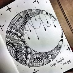 art, drawing, and moon Bild