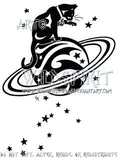 Starry Cat And Saturn Logo by WildSpiritWolf.deviantart.com on @deviantART