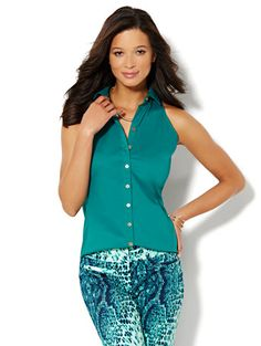 Shop Sleeveless Button-Front Shirt. Find your perfect size online at the best price at New York & Company.