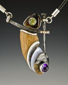 Necklace: sterling silver, 18ct gold, stone, peridot, gemstone, tiger eye, amethyst, steel, leather / Algirdas Morkunas / 2011