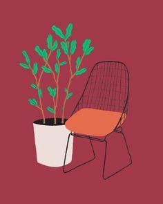 Wire chair , classic design, Cees Braakman & Adriaan Dekker 1953, Pastoe. Illustration by Lianne Nixon