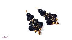 Black and gold  in a elegant pair of soutache earrings  #soutacheearrings #blackearrings #statementearrings