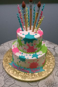 Paint Splatter Two Tiered Cake w/ Fondant Paint Brushes and Curlies from Something Special Bakery in Beaumont, TX Art Birthday Cake, Artist Birthday, 10th Birthday Parties, Birthday Party Themes, Birthday Ideas, Bolo Paintball, Paint Splatter Cake, Art Party Cakes, Bolo Mickey