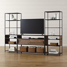 Knox Media Console with 2 Tall Open Bookcases
