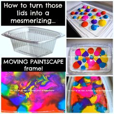 Everything and nothing: Activities for Preschool: Paintscape moving paint frame with recycled plastic lids - Dancing landscape painting frame