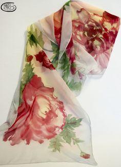 Silk scarf chiffon Peonías realizado por Teresa Daratsakis en Artodos - Etsy