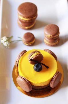 Mango Chocolate Mousse Cake and Macaron