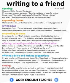 Writing to a Friend - Expressions to  Use in Informal Emails by Cork English Teacher